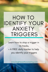 Every person has different anxiety triggers and identifying them can be immensely helpful in decreasing the anxiety that can occur as a result.  Click to learn: What are common triggers?  What happens when you don't know your triggers?  Skills to stop a trigger in its tracks.  Mood tracking and reflection to help you identify your triggers.