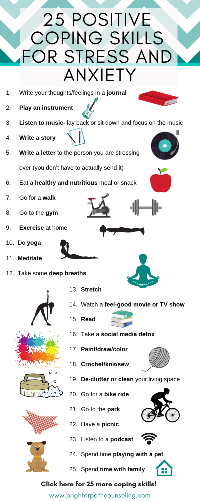 Positive coping skills can be so helpful when you are having a bad day or mood. Check out this list of 50 positive coping skills for anxiety and stress.